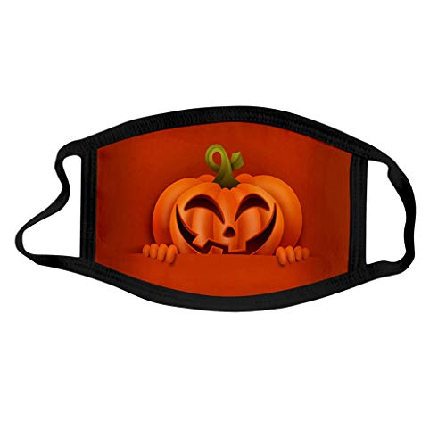 Shulky 3PC Kindermode Halloween Bedruckte Staubdichte Waschbare 3D Cartoon Druck Halloween Mundschutz Multifunktionstuch Nahtloses Gesicht Bandana Halstuch (D,3PC)