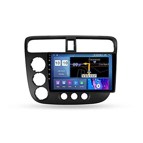 Android 10.0 Car Stereo Radio Doble DIN para H-Onda Civic 7 2000-2006 Navegación GPS Reproductor Multimedia de 9 '' Receptor de Video Bluetooth con 4G / 5G WiFi SWC DSP USB Carplay