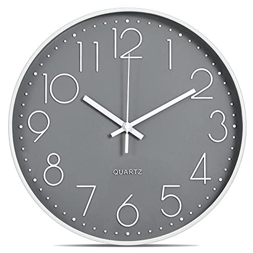 Lisedeer 30cm Modern Quartz Lautlos Wanduhr Schleichende Sekunde ohne Ticken Analoge Wanduhr (Weiß&Grau)