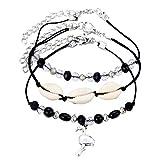 XdiseD9Xsmao 3 Unids/Set Seashell con Cuentas Pulsera De Tobillo Mujeres Charm Foot Chain Tobillera Joyería Negro