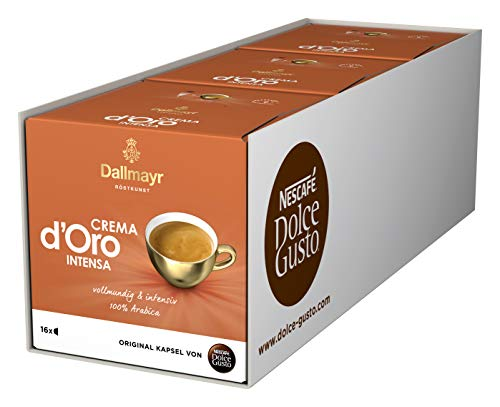 NESCAFÉ Dolce Gusto Dallmayr Crema d'Oro intensa (48 Kaffeekapseln, Intensität 9 von 12, 100% Arabica-Bohnen) 3er Pack (3 x 16 Kapseln)