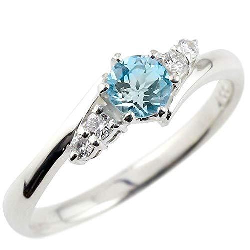 [アトラス]Atrus リング レディース sv925 スターリングシルバー ブルートパーズ ダイヤモンド 大粒 11月誕生石 エンゲージリング 指輪 5号