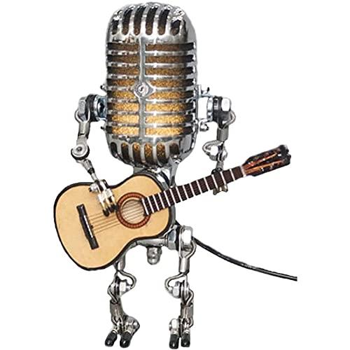 Lampada Robot Vintage Microfono con Chitarra Microfono in Metallo Accessori da scrivania Robot Retro lampade da Tavolo Carine Ornamento Microfono per Strumenti di Decorazione Fotografica di Halloween