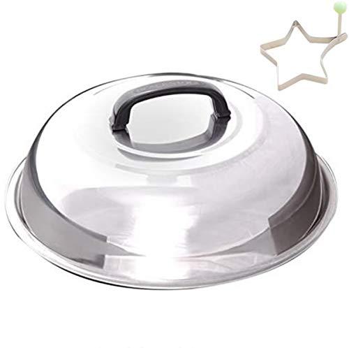 ZHOUWHJJ Grillabdeckung aus Edelstahl, rund, 30,5 cm, für Käse, Schmelzkuppel und Dampfgar-Abdeckung, ideal für flache Grills und andere Grills, Smoker
