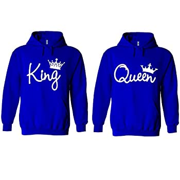 King and Queen Write Hoodie Couple Matching Sweater Pullover Hooded Sweatshirt Jacket Royal Blue-Medium-Queen ONLY
