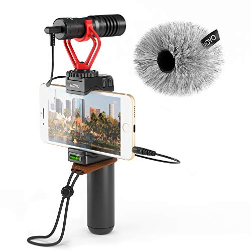 Movo Smartphone Video Rig with Shotgun Microphone, Grip Handle, Wrist Strap for iPhone 6, 6S, 7, 8, X, XS, XS Max, Android and Other Smartphones - Perfect for TIK Tok or Vlogging Equipment