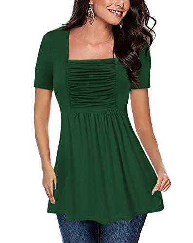 OYANUS Womens Shirts Square Neck Ruched Babydoll Tops Short Sleeve Empire Waist Tunics Peplum Summer Tops Blouses Inkgreen L