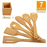 Kitchen Cooking Utensils Set - 6 Pieces Bamboo Wooden Spoons & Spatulas and 1 Holder as Bonus, Heat Resistant for Non Stick Cookware