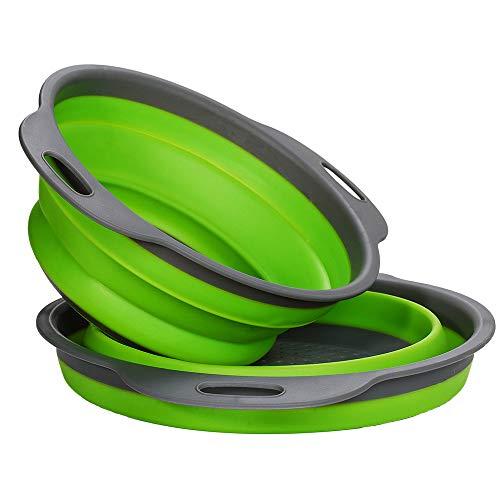 LoveChef - Scolapasta pieghevole, in silicone, diametro 24/ 20cm (Confezione da 2) verde