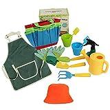 Juego de herramientas de jardinería para niños, rastrillo de pala, juguete al aire libre, juego de jardinería para niños, delantal de regalo, regadera para jardinería real o sobre arena y vestir