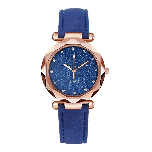 IJKLMNOP Women's Quartz Watch Starry Sky Fashion Elegant Watch for Women with Stainless Steel Dial Leather Strap Ladies Watches for Her for Him Couple Watch