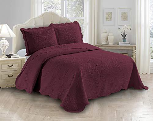 Fancy Linen 3-teiliges Tagesdecken-Set mit geprägtem Gänseblümchen-Muster, Übergröße, einfarbig, für Queen-Size-Betten, Burg&errot