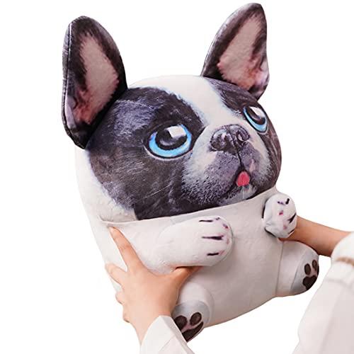 White & Black French Bulldog Plush Cute Stuffed English Pug Puppy Soft Fluffy Dog Hugging Cushion Decor Gifts Xmas Birthday,11.8Inch