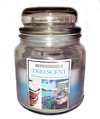 Gorgeous Beach Sea Scented Jar Candle with 3 Complementary Scents Of Beach Holidays By the Sea Coconut Sea Salt, Spa Waters & Midnight Rain