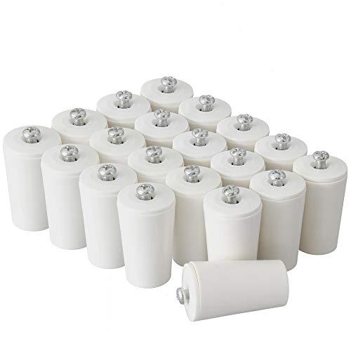 ECENCE Tope amortiguador para persianas set de 20pieza 40mm incl. tornillo Blanco, tope, protección completa para persiana