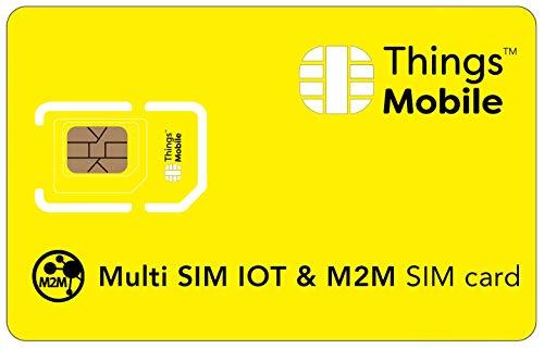 MULTI SIM-Karte für IOT und M2M - Things Mobile - mit weltweiter Netzabdeckung und Mehrfachanbieternetz GSM/2G/3G/4G. Ohne Fixkosten unt ohne Verfallsdatum. 10 € Guthaben inklusive