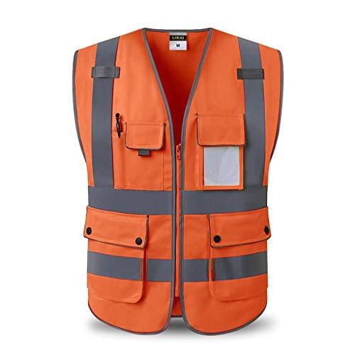 Multi Pocket High Visibility Mit Reißverschluss Weste Erinnerung Reflective Faltbare Arbeitssicherheit Vest Nacht BAU,b,L