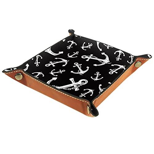 Ankerkette Nautik Maritime Leder Tablett Nachttisch Aufbewahrungstablett Herren Damen Schmuck Aufbewahrungsbox Schlüssel Portemonnaie Münzbox Reise PU Valet Tray