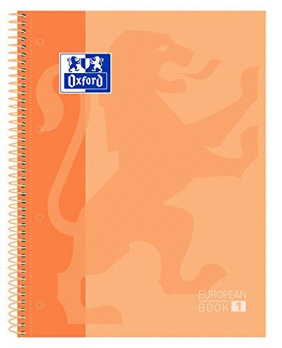 Oxford cuaderno Europeanbook 1, microperforado, tapa extradura, espiral, a4+, cuadrícula 5x5, color melocotón,