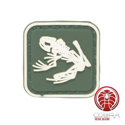 Cobra Tactical Solutions US Navy Seals Frogmen Frosch Skelett grün Military PVC Patch mit Klettverschluss für Airsoft Cosplay Paintball für Taktische Kleidung Rucksack