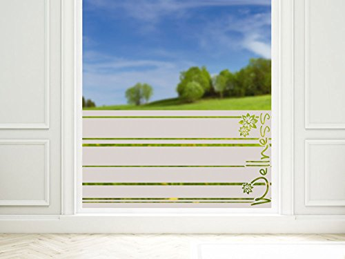 GRAZDesign Sichtschutz Fenster Duschtür Dusche Milchglasfolie für Badezimmer Streifen Spruch Wellness / 80x57cm