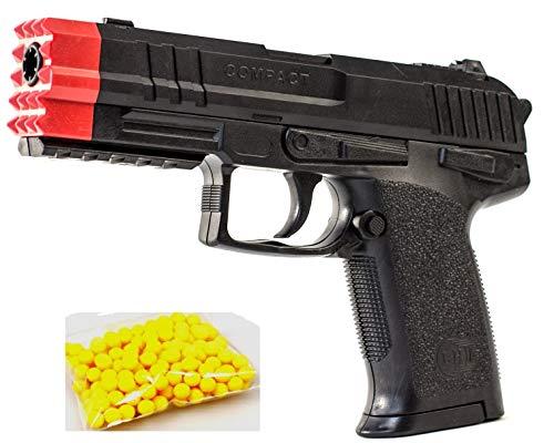 KOSxBO® Agenten Kugelpistole schwarz 19cm mit Magazin und Premium Munition - ab 14 Jahren - Robuste Softair für Kinder