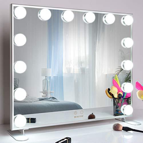 Wonstart 女優ミラー 化粧鏡 ハリウッドスタイル 14個LED電球付き 暖色・寒色 2色ライトモード 明るさ調節可能 女優ライト 卓上 LEDミラー ドレッサー/化粧台適用 (シルバー)