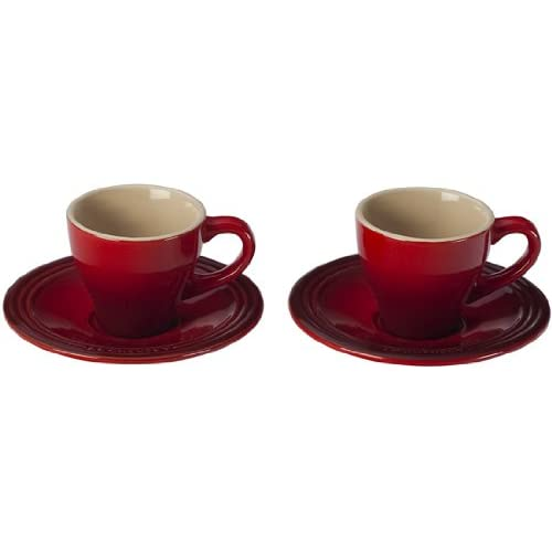 8df08179a Le Creuset Stoneware Set of 2 Espresso Cups and Saucers