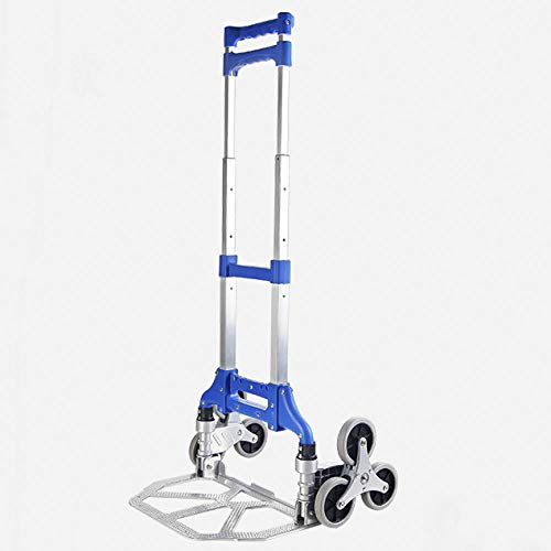 Aluminum Alloy Multi-Functional Foldable Sack Truck With Anti Puncture Silent Wheel and 75 kg Capacity,Blue Foldable Shopping Trolley Bag on Wheels for Office Bathroom Kitchen Kids' Room Laundry Roo