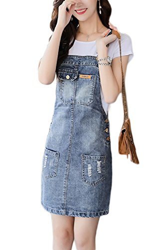 Las Correas De Liga Peto Denim Jeans Vestidos Bodycon Dress Azul M