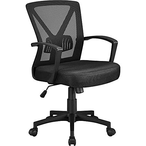 Yaheetech Office Desk Chair Ergonomic Computer Mesh Chair Comfy Mid-Back Task Chair w/Lumbar Support Armrest Executive Rolling Adjustable Height Swivel Chair for Conference and Home, Black