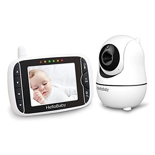 Babyphone mit Kamera,Baby Monitor,Baby-Monitor mit Kamera Babyphone mit ferngesteuerter Pan-Tilt-Zoom-Kamera und 3,2-Zoll-LCD-Bildschirm, Infrarot-Nachtsicht Hellobaby