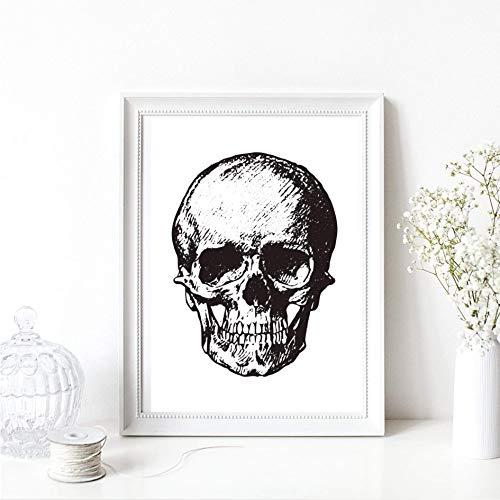 Din A4 Kunstdruck Bild ungerahmt Schädel Totenkopf Skull Skelett Gothic Horror Halloween Grafik schwarz Druck Poster