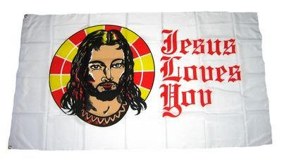 Fahne / Flagge Jesus Loves You NEU 90 x 150 cm Flaggen