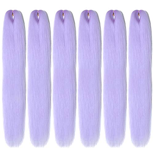 Angel Grace Braiding Hair Pre Stretched 22inch 6Packs Tri Ombre Box Braids, Twists Hair Extensions Made of Top Silky Flame-Retardant Fiber Itch Free Yaki Texture(22inch, LAVENDER)