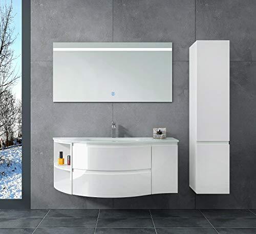 Oimex LYNN 120 cm Badmöbel mit LED Spiegel Seitenschrank Hochglanz Weiß Badezimmer Set mit viel Stauraum Waschtisch Unterschrank Glas Waschbecken …, Größe: Waschtisch + LED Spiegel + Seitenschrank