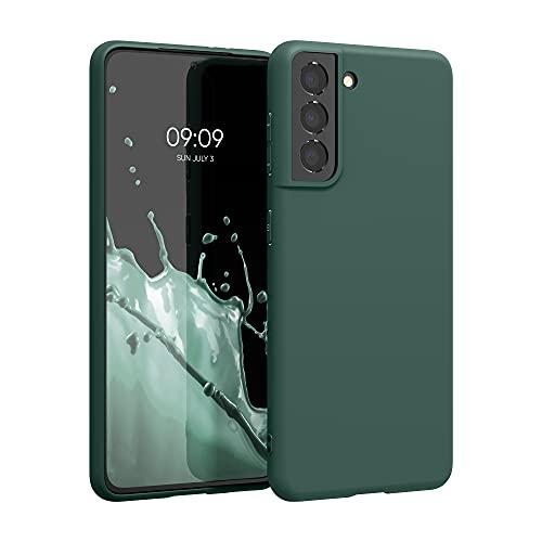 kwmobile Carcasa para Samsung Galaxy S21 - Funda para móvil en TPU Silicona - Protector Trasero en Verde Musgo