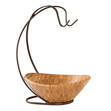 Seville Classics Fruit Tree with Banana Hook and Large Wavy Bamboo Bowl
