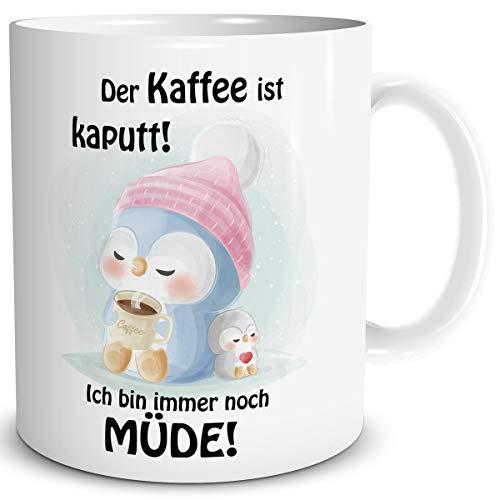 TRIOSK Pinguin Tasse Kaffee Kaputt mit Spruch lustig Coffee Geschenk für Schlafmützen Arbeit Büro Frauen Freundin Pinguinliebhaber