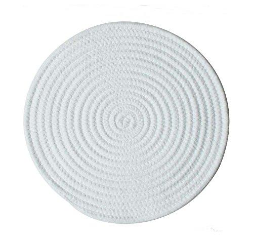 Black Temptation Handgemachte natürliche Baumwoll-Tischsets Haltbare Isolierauflage, 30CM, Weiß