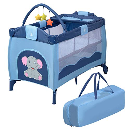 COSTWAY Lettino da Viaggio Lettino da Campeggio per Bambini Culla Neonato, Incluso Materasso + Accessori, 120 x 60 x 78 cm (Blu)