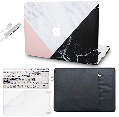 KECC Laptop Case for MacBook Pro 13' (2020,Touch Bar) w/Keyboard Cover + Sleeve + Screen Protector + USB (5 in 1) Hard Shell A2289/A2251 (White Marble Pink Black)
