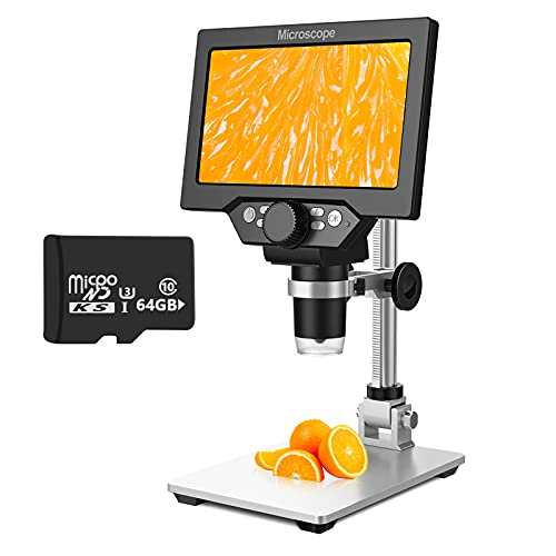 7 Inch LCD Digital Microscope with 64GB TF Card, 1200x Magnification, 12MP Ultra-Precise Focusing Camera 1080P Video Microscope 8 LED Lights for Coin Circuit Board Soldering PCB Watch Clock Repair