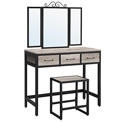 VASAGLE ALINRU Vanity Table Set, Makeup Table with Stool, 3 Drawers, Tri-Fold Mirror, Metal Frame, Industrial, Greige and Black URVT002B02