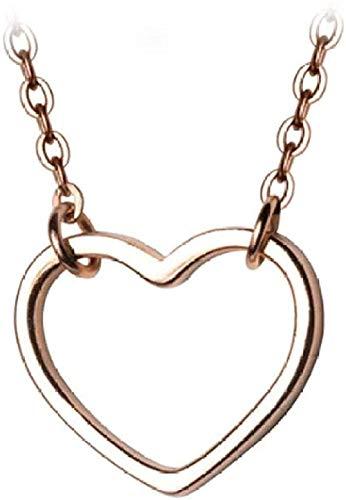 GLLFC Collar para Mujeres Hombres Collar Mujeres S romántico Simple en Forma de corazón Colgante Collar Encanto Aniversario joyería Collar Colgante Cadena para Mujeres Hombres