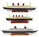OPO 10 - Lote de 3 transatlánticos Le France + The Queen Mary + The Lusitania, Colección Paquebot du Monde, Atlas 1: 1250 (Ref 002 + 003 + 005)