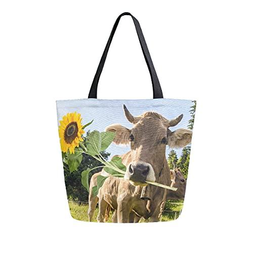 XXNO Bolsa de lona de girasol de vaca de gran capacidad para el hombro, bolsa de compras, bolso para trabajo, playa, viajes, comestibles