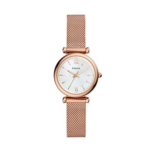 Fossil ES4433 Reloj para Mujer, Extensible, Acero Oro Rosado, Caratula Madre Perla, Análogo