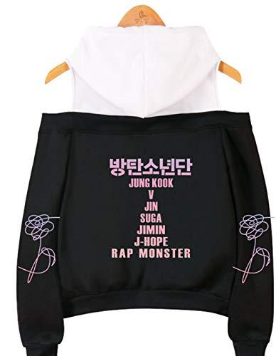 SIMYJOY Mujeres Korea Pop Fans Sudadera con Capucha sin Hombro Miembros de Korea Pop...