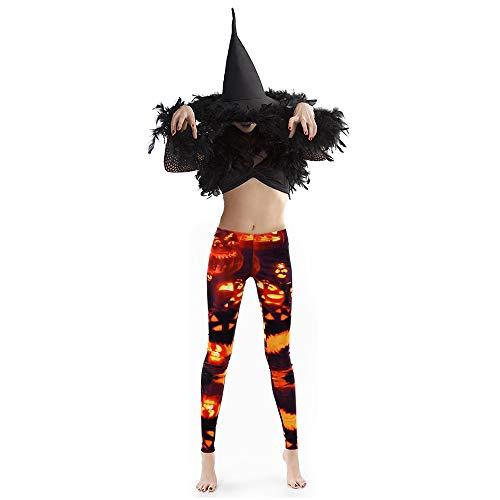 FEPITO Halloween Leggings Donna Halloween Zucche Teschi Leggings elastici Costume Collant e 1 paio di guanti scheletro per la festa in costume di Halloween